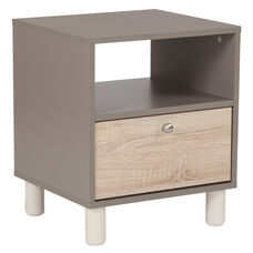 Montclair Collection End Table in Gray Finish with Sonoma Oak Wood Grain Drawer