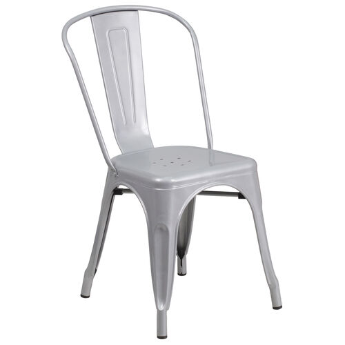 Our Commercial Grade Silver Metal Indoor-Outdoor Stackable Chair is on sale now.