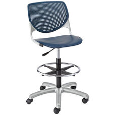DS2300 KOOL Series Poly Armless Task Stool with Perforated Back and Silver Frame - Navy