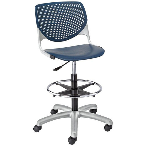 Our DS2300 KOOL Series Poly Armless Task Stool with Perforated Back and Silver Frame - Navy is on sale now.