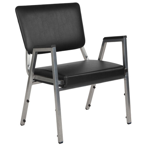 Our HERCULES Series 1500 lb. Rated Black Antimicrobial Vinyl Bariatric Antimicrobial Medical Reception Arm Chair with 3/4 Panel Back is on sale now.