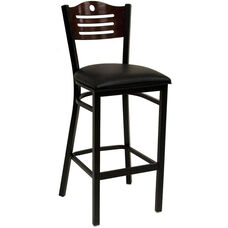 Half Wood Back Barstool with Slotted Accents - Grade 5 Vinyl