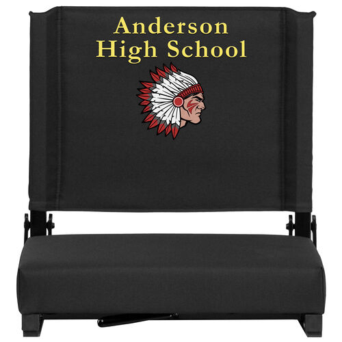 Personalized Grandstand Comfort Seats by Flash - 500 lb. Rated Stadium Chair with Handle & Ultra-Padded Seat