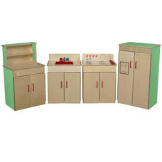 Green Apple Pretend Play Healthy Kids Plywood Classic Appliances with Deluxe Hutch Set - Assembled - Set of 4