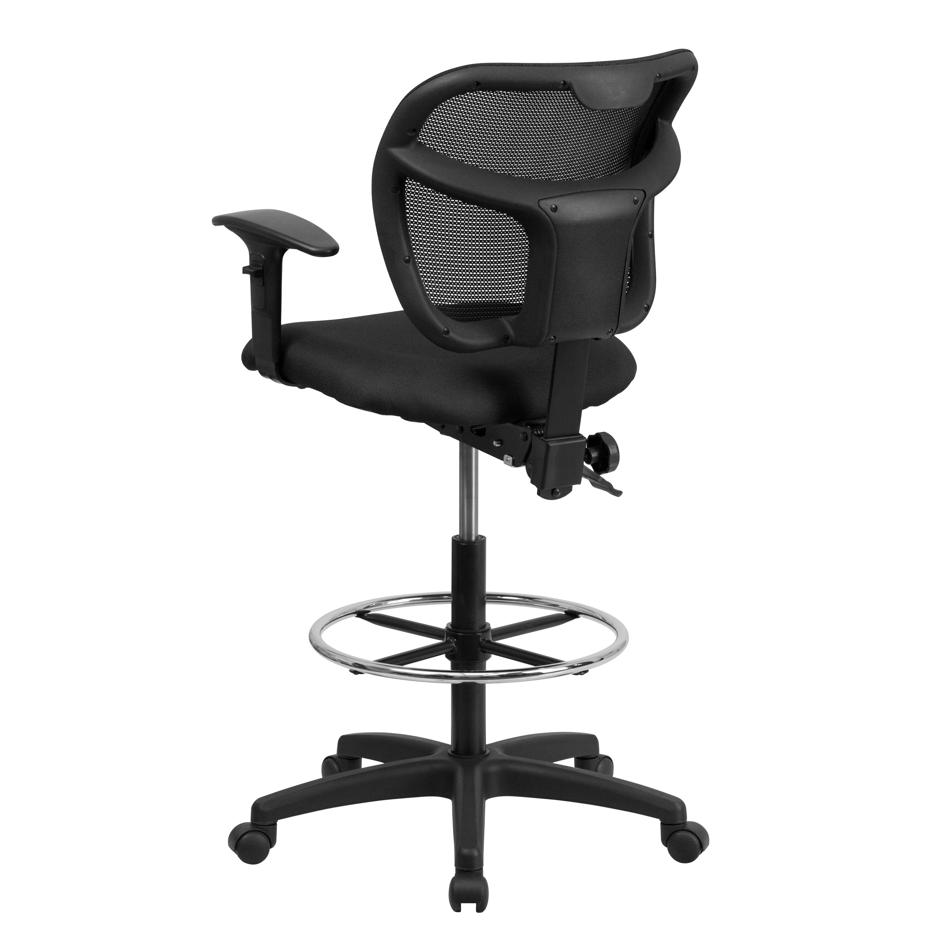 Our Mid Back Black Mesh Drafting Chair With Adjustable Arms Is On Sale Now.