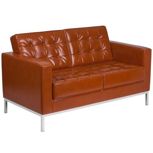 Our HERCULES Lacey Series Contemporary Cognac Leather Loveseat with Stainless Steel Frame is on sale now.