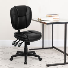 Mid-Back Black LeatherSoft Multifunction Swivel Ergonomic Task Office Chair with Pillow Top Cushioning