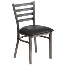 Clear Coated Ladder Back Metal Restaurant Chair with Black Vinyl Seat