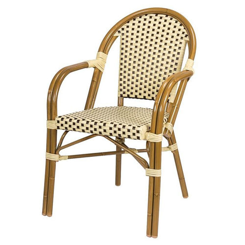 Paris Indoor/Outdoor Stackable Arm Chair with Light Bamboo Aluminum Frame - Cream and Chocolate