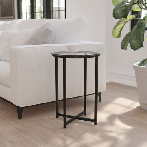 Greenwich Collection End Table - Modern Clear Glass Accent Table with Crisscross Matte Black Frame