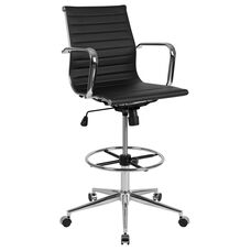 Ergonomic Black LeatherSoft Drafting Chair with Adjustable Height Foot Ring and Chrome Base