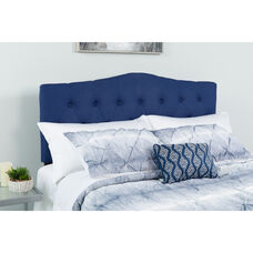 Cambridge Tufted Upholstered King Size Headboard in Navy Fabric