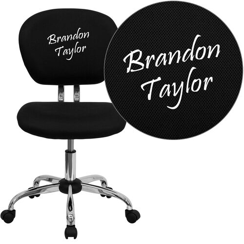 Embroidered Mid-Back Mesh Padded Swivel Task Office Chair with Chrome Base