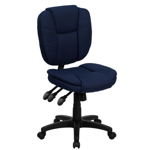 Our Mid-Back Navy Blue Fabric Multifunction Swivel Ergonomic Task Office Chair with Pillow Top Cushioning is on sale now.