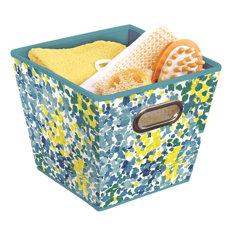 ... Our Collapsible 10.5u0027u0027 Square Fabric Storage Bins With Grommet Handles    Blue Multi Colored