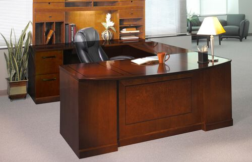 Sorrento Executive U-Shaped Bow Front Desk Configuration with Left Bridge and Credenza with File File Pedestal - Bourbon Cherry