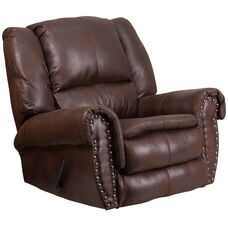 Contemporary Breathable Comfort Padre Espresso Fabric Rocker Recliner with Brass Accent Nail Trim
