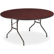 Premium 60'' Round Wood Laminate Folding Table with Vinyl T-Mold Edge - Mahogany
