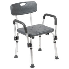 HERCULES Series 300 Lb. Capacity, Adjustable Gray Bath & Shower Chair with Depth Adjustable Back