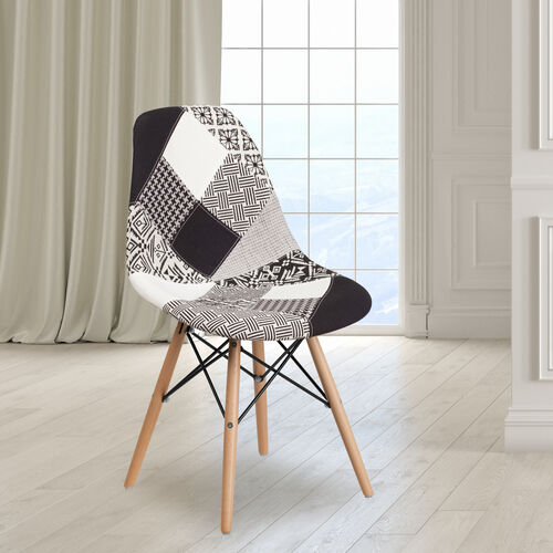 Our Elon Series Turin Patchwork Fabric Chair with Wooden Legs is on sale now.