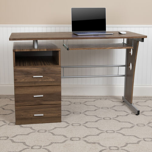 Rustic Walnut Desk with Three Drawer Pedestal and Pull-Out Keyboard Tray