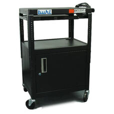 Black Height Adjustable AV Media Cart with Lockable Security Cabinet and Pull-Out Side Shelf - 24