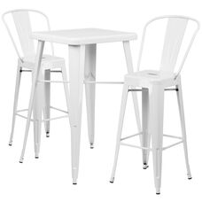 "Commercial Grade 23.75"" Square White Metal Indoor-Outdoor Bar Table Set with 2 Stools with Backs"