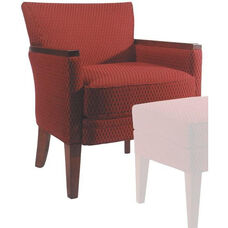 9625 Upholstered Lounge Chair w/ Wood Arm Caps - Grade 1