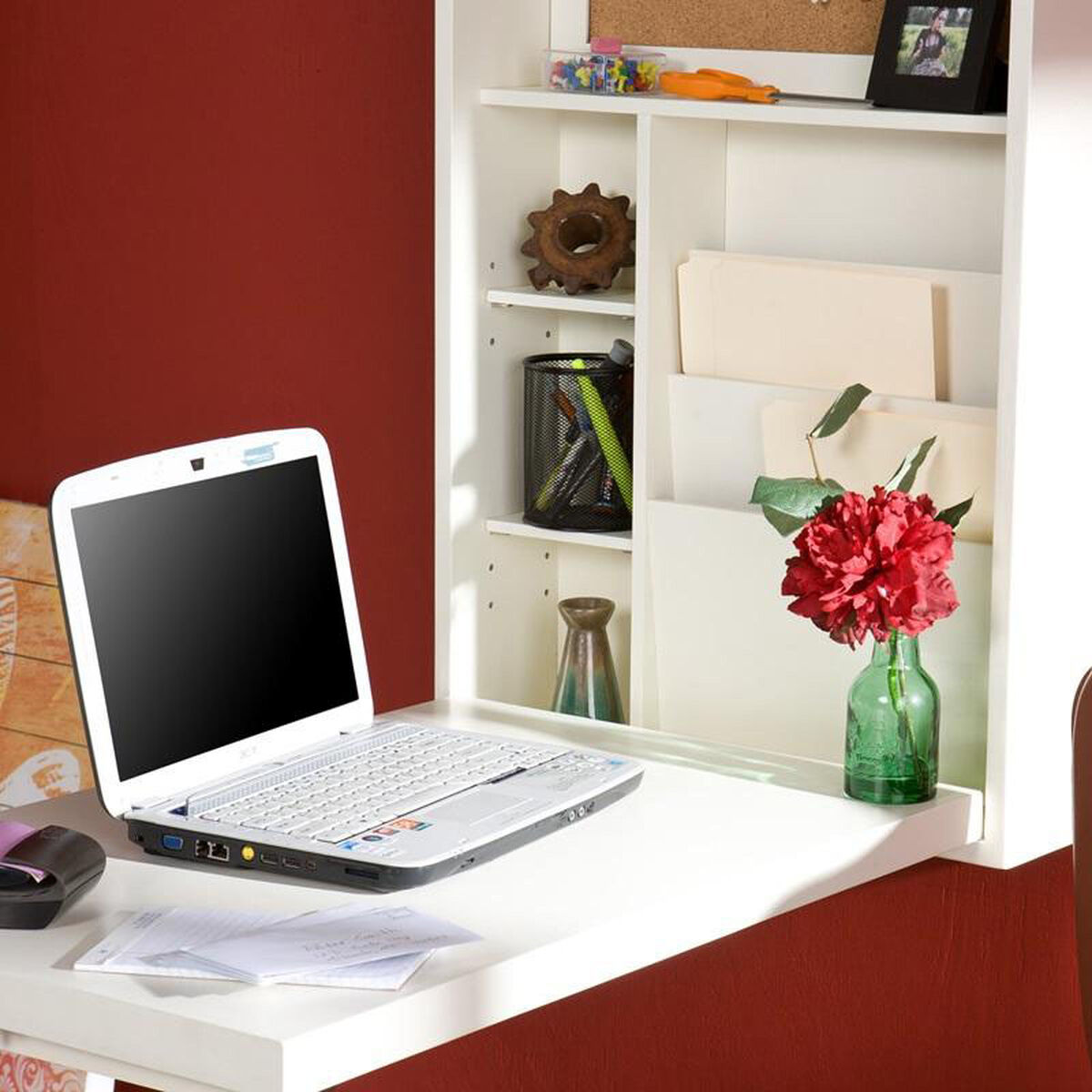 Our Stylish Space Saving Multi Function Wall Mounted Fold Out Convertible Desk With Bill Organizer And