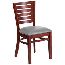 Mahogany Finished Slat Back Wooden Restaurant Chair with Custom Upholstered Seat
