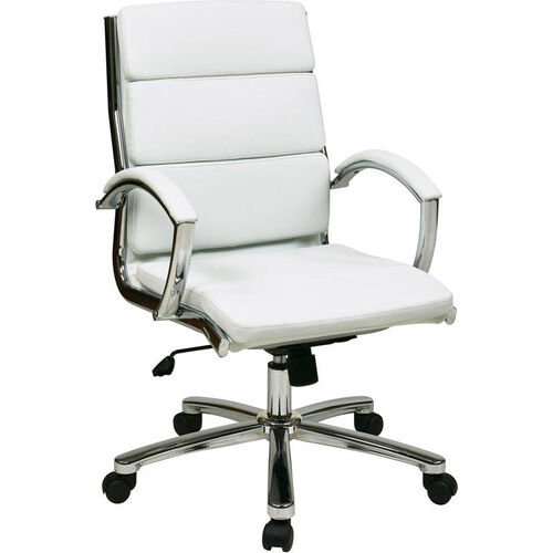 Our Work Smart Mid Back Executive Faux Leather Chair with Polished Chrome Finish - White is on sale now.