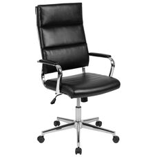 High Back Black LeatherSoft Contemporary Panel Executive Swivel Office Chair