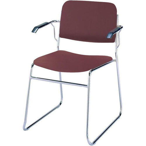 Our Quick Ship 300 Series Stacking Steel Frame Guest Armchair with Chrome Sled Base and 1.5