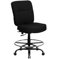 HERCULES Series Big & Tall 400 lb. Rated Black Fabric Ergonomic Drafting Chair with Rectangular Back