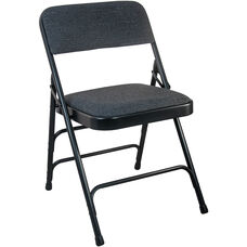 Advantage Black Padded Metal Folding Chair - Black 1-in Fabric Seat