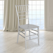 "HERCULES Series Silver Resin Stacking Chiavari Chair with <span style=""color:#0000CD;"">Free </span> Cushion"