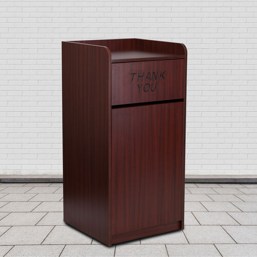 Our Wood Tray Top Receptacle in Mahogany is on sale now.
