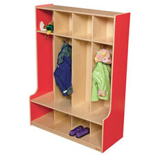 Strawberry Red 4-Section Seat Locker with Two Coat Hooks in Each Section - Assembled - 36