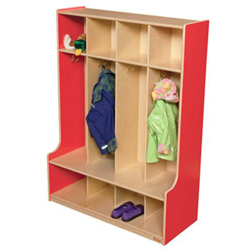 Our Strawberry Red 4-Section Seat Locker with Two Coat Hooks in Each Section - Assembled - 36