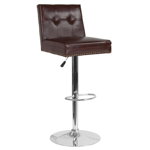 Our Ravello Contemporary Adjustable Height Barstool with Accent Nail Trim in Brown LeatherSoft is on sale now.
