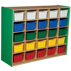 Wooden Storage Unit with 25 Assorted Plastic Trays - Green Apple - 48
