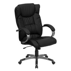 High Back Black Leather Executive Swivel Office Chair with Titanium Nylon Base and Loop Arms