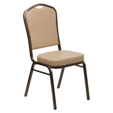 HERCULES Series Crown Back Stacking Banquet Chair in Tan Vinyl - Copper Vein Frame