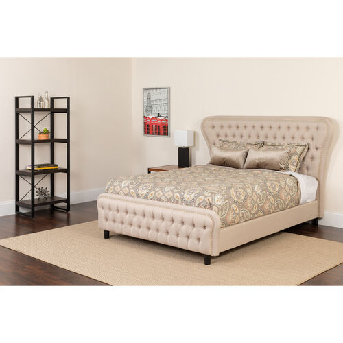 Our Cartelana Tufted Upholstered Queen Size Platform Bed in Beige Fabric and Gold Accent Nail Trim with Pocket Spring Mattress is on sale now.