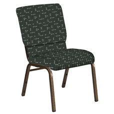 Embroidered 18.5''W Church Chair in Eclipse Pewter Fabric - Gold Vein Frame