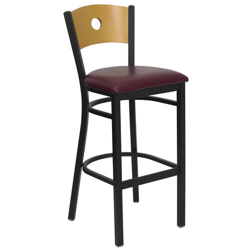 Our Black Circle Back Metal Restaurant Barstool with Natural Wood Back & Burgundy Vinyl Seat is on sale now.
