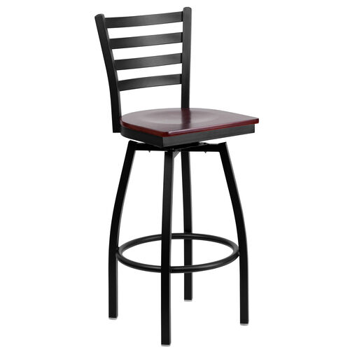 Our Black Metal Ladder Back Restaurant Barstool with Mahogany Wood Swivel Seat is on sale now.