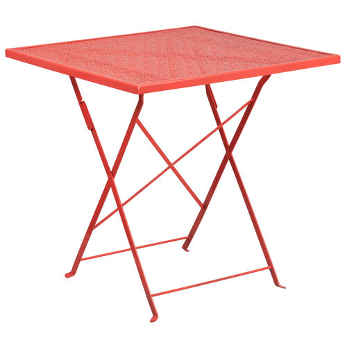 "Our Commercial Grade 28"" Square Coral Indoor-Outdoor Steel Folding Patio Table is on sale now."