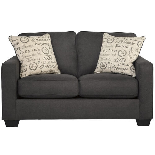 Our Signature Design by Ashley Alenya Loveseat in Charcoal Microfiber is on sale now.