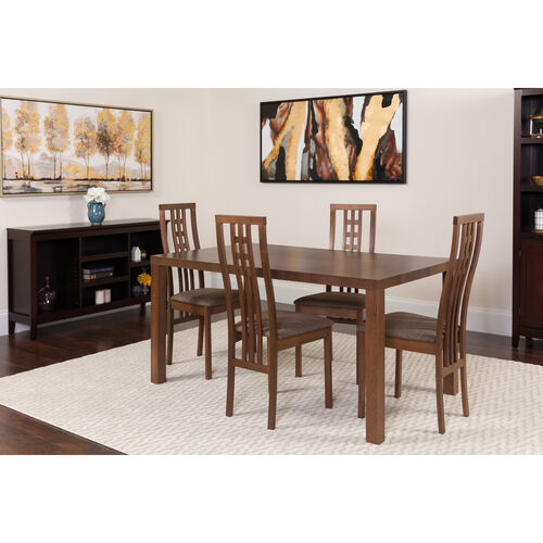 Our Chatham 5 Piece Walnut Wood Dining Table Set with High Triple Window Pane Back Wood Dining Chairs - Padded Seats is on sale now.